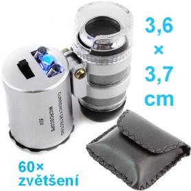 Kapesní mikroskop 60× s LED a UV světlem
