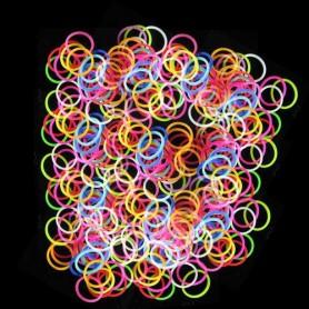 Svítící loom bands sada: 200 ks gumiček + háček a spojky
