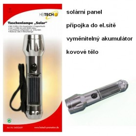 Solární a síťová ruční svítilna s akumulátorem