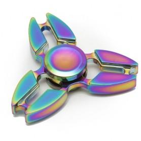 Fidget spinner - kovová hvězdice s metalickým žíháním