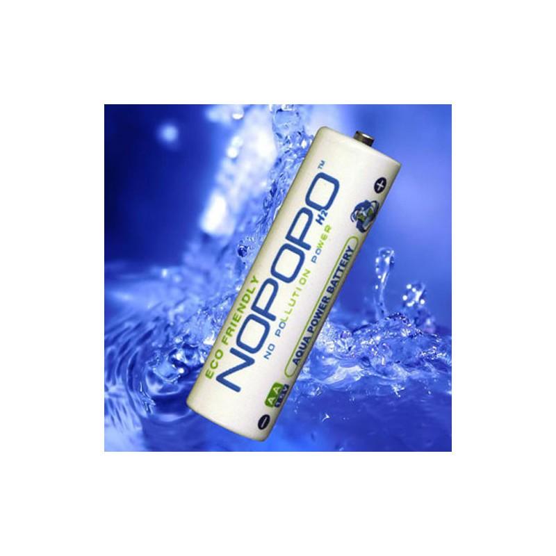 NoPoPo - revoluční netoxické ekobaterie opakovaně dobíjené za použití kapky vody - 1 baterie samostatně, pozadí vodní