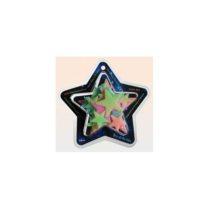 Hvězdy přilepovací zářící ve tmě svítící - BAREVNÉ v plastovém boxu
