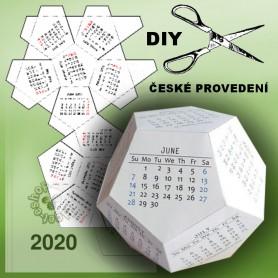 3D stolní kalendář dvanáctistěn 2020