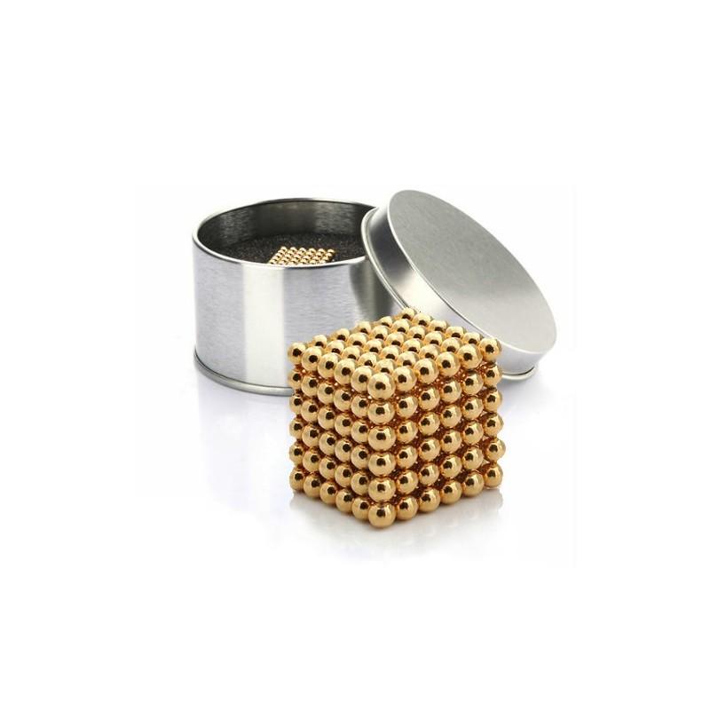 NeoCube zlatý 5mm - magnetická kostka - v plechu