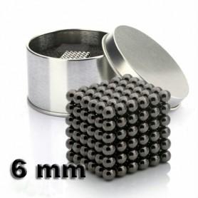 NeoCube černý 6mm - magnetická kostka - v plechu