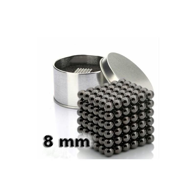 NeoCube černý 8mm - magnetická kostka - v plechu