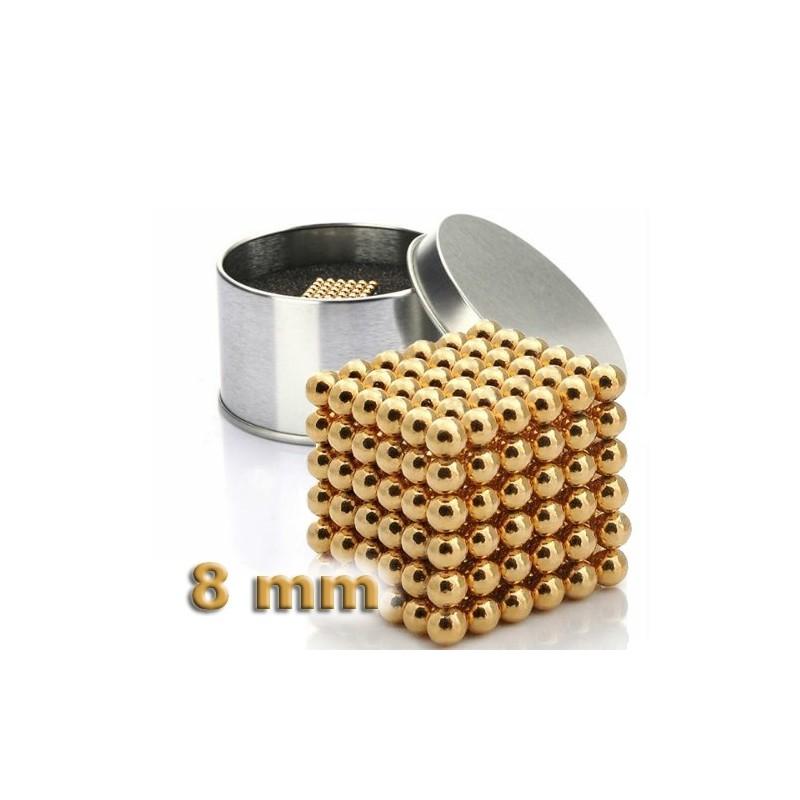 NeoCube zlatý 8mm - magnetická kostka - v plechu
