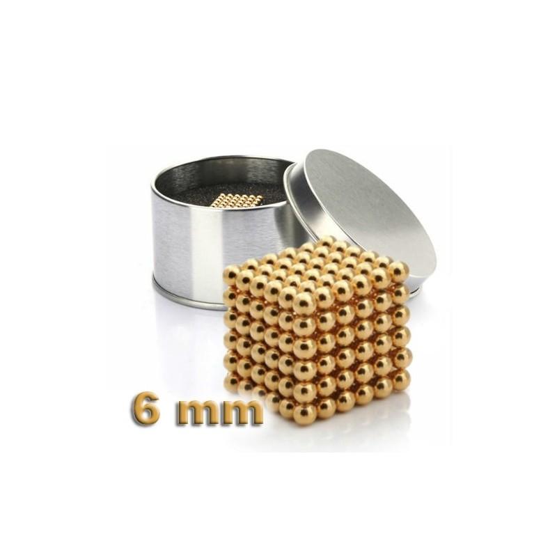 NeoCube zlatý 6mm - magnetická kostka - v plechu